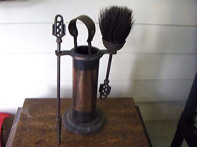 Vintage Antique Brass Hearth Fireplace Woodburner Accessory Set