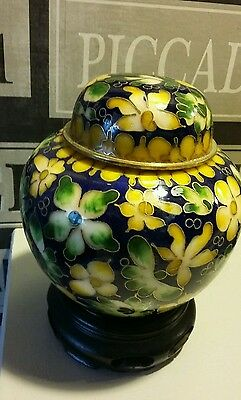 Cloisonne Oriental Ginger Jar With Stand