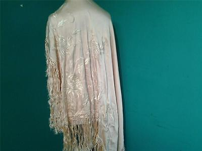 Large vintage yellow  fringed piano shawl embroidered detail