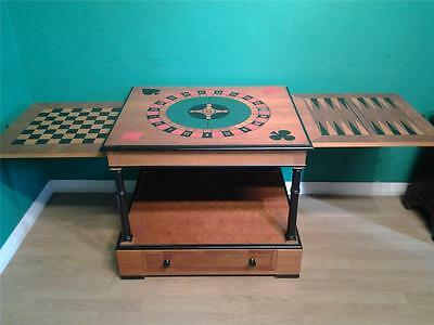 Decorative yew wood games coffee table  with chess and backgammon boards