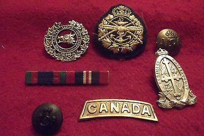 Grouping Of Canadian Cap Badges A Ribbon Bar And Two Buttons