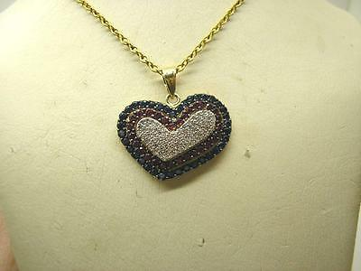 Victorian 14ct Gold Natural Diamond Ruby & Sapphire Heart Pendant & Chain