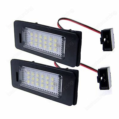 2X White 18 SMD No OBC Error LED License Number Plate Light For Audi A4 A5 Q5 TT