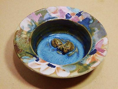 Studio Pottery Frog dish by Newton. Backstamp and monogramed.