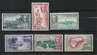 Barbados 1950 Selection of Mounted Mint to $1.20 (6) SG271/81