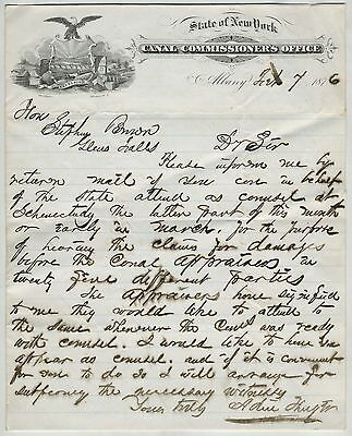 1876 Original New York Canal Commission Official Letterhead,Correspondence