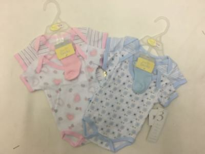 Baby Bebo 2 Pack Vest & Sock Set Pink Or Blue