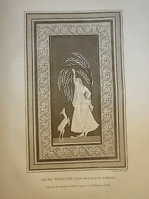 William DANIELL ENGRAVING PORTRAIT YOUNG GIRL GAZELLE INDIA HINDOUSTAN 1820