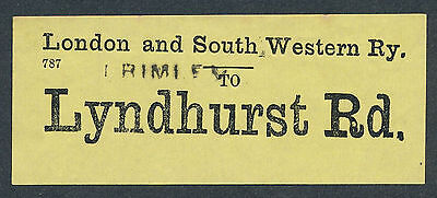 D115 LYNDHURST RD LSWR London & South Western Railway yellow luggage label
