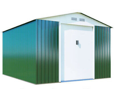 Metal Garden Shed - Green Boxer Apex Galvanised Steel Outdoor Heavy-Duty Storage