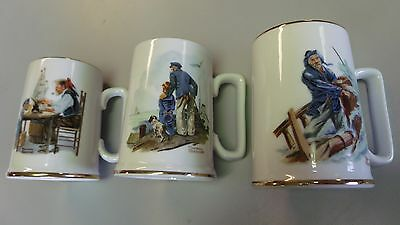Norman Rockwell Coffee/Tea Mugs w/gold trim
