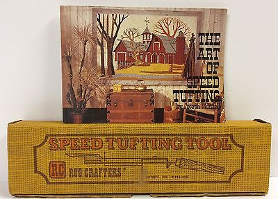 NOS Boxed Unused Rug Crafters Speed Tufting Tool + The Art of Speed Tufting Book