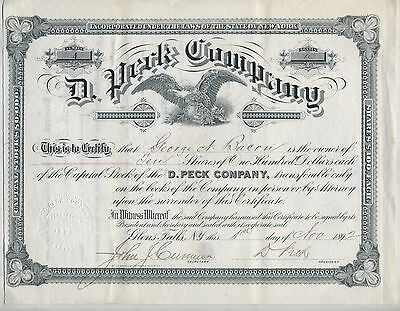 1892 Glens Falls NY D Peck & Co. Stock Certificate George Bacon
