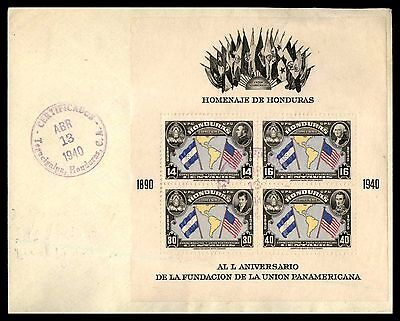 Honduras UPU Souvenir Sheet First Day cover FDC Unsealed Flap