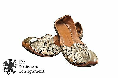 Embroidered Leather Turkish Persian Slippers Black Gold Curled Pointed Toe Gypsy