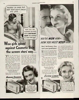 1935 Four ads with Hollywood Movie Stars fox Lux Toilet Soap