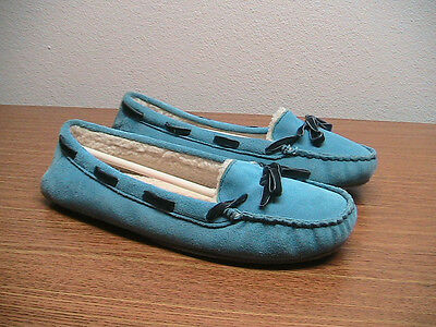 NEW Womens 10 L.L. Bean Suede Leather Blue Fleece Lined Slipper Moccasins Shoes