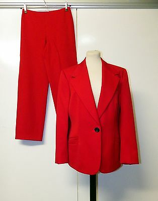 Vintage 80's Giannni Versace Couture Red Suit Jacket and Trousers Size 12/14