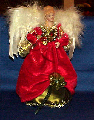 Angel In Red & Green Christmas Tree Topper  Or Table Top Must See