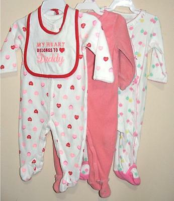 Lot Of 3 Carters Baby Toddler Girls  Footed 1 Pc Pajamas Size 9 Mo.