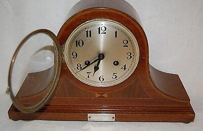Vintage Mantel Clock Wooden Case with brass movement W/V