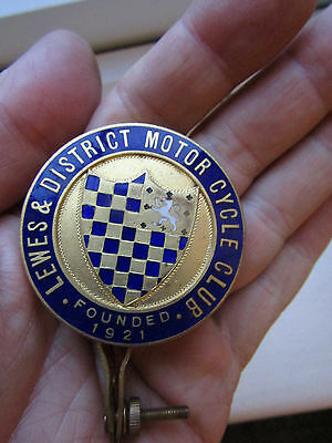 RARE 1921 LEWES DISTRICT MOTOR CYCLE CLUB  Mascot Badge SUPERB Condition
