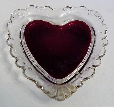 rqz25 OLD RUBY FLASH GLASS HEART PIN TRAY souvenir Defore, Mich.
