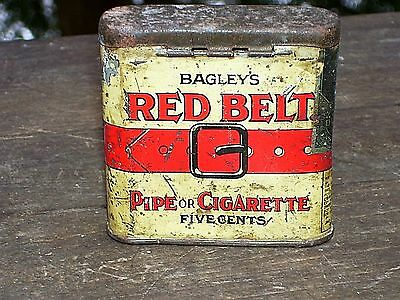 Antique ~ Red Belt Tobacco Tin ~ Short Style ~ Found On The Farm ~ Detroit 1905