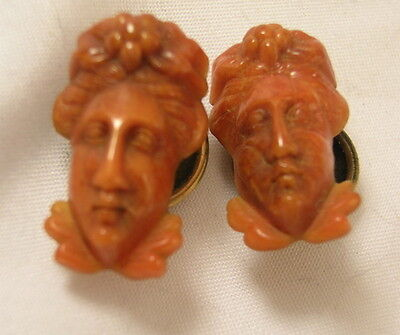 Vintage Victorian High Relief Salmon Coral Celluloid Lady Figural Cuff Buttons