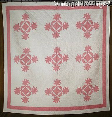 Beautiful Quilting! ANTIQUE Pink White Applique QUILT 79x77""
