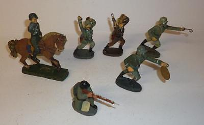 Group Of Elastolin Vintage Composition German Soldiers - 1930's