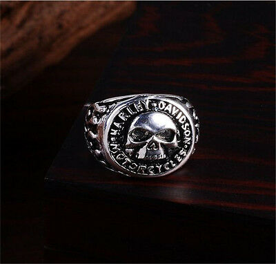 Men's Stainless Steel Silver Fashion Gothic Skull Male Finger Ring Size 8