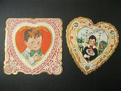 VTG Valentine Card GREAT early 1900's BOYS Bowtie Nosegay EMBOSSED F