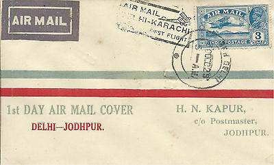 India 1929 3a Illustrated FFC from Delhi to Jodhpur