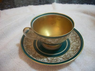 USSR Occupied Germany Reichenbach Demitasse cup & saucer - Gold interior to cup
