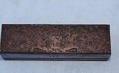 Old Copper Printing Plate On Lead Block - Art Nouveau Floral Display - Caslon