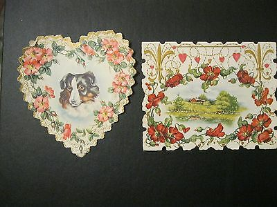 VTG Valentine Card FABULOUS early 1900's COLLIE Dog Poppy GOLD Gilded Greeting F
