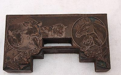 Old Copper Printing Wooden Block Plate - Large Frame Horses Cows & Sheep - Lydos