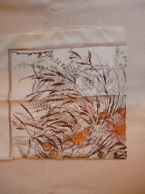 Square floral scarf  Sades of brown. orange and white  Polyester   NEW