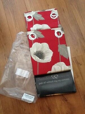 red floral ring top curtains size 46x54 bnip