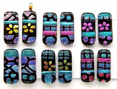 For dangle earrings Lot 12 pcs HANDMADE pendant DICHROIC FUSED GLASS (H3) CAB