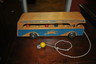Rare Early 1St Edition 1942 Version Holgate Jack Rabbit Bus Line Wood Pull Toy