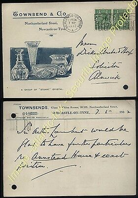 1932 NEWCASTLE upon TYNE TOWNSEND & CO illustrated Trade Post Card