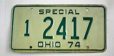Vintage 1974 Original OHIO Master Special Dealer License Plate 2417