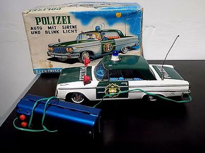 Vintage Tinplate Battery Op Police Siren Car, German issue, Aoshin, Japan, VGiB