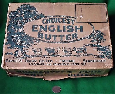 Antique Express Dairy Co Butter Frome Somerset Advertising Vintage Delivery Box