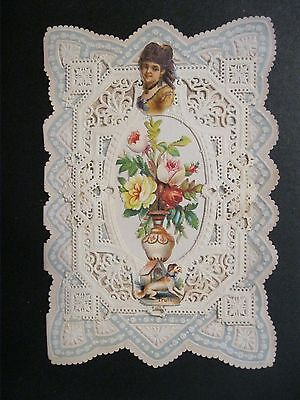 VTG Valentine Card OUTSTANDING early 1900's Paper Doily dog Vase Greeting G