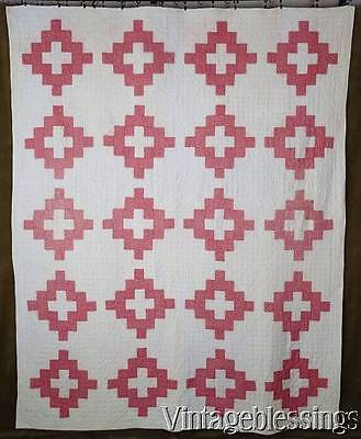 Beautiful and Early! c1880 Antique Album Double Pink & White QUILT