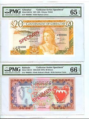 "1964(Nd1978) Bahrain & 1975 Gilbratar""specimen"" Group 7 Notes - Pmg Grades"