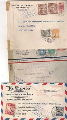 26326 COLOMBIA airmail covers to USA by MANCOMUN incl 2 x censored (3 covers)